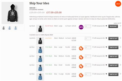 Woocommerce Variations To Table Grid By Nitroweb Codecanyon Woocommerce Product Listing Page Template