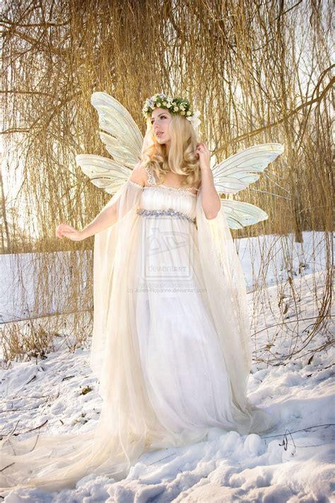 fairytale snow fairy in snow love trailing net sleeves gauze and