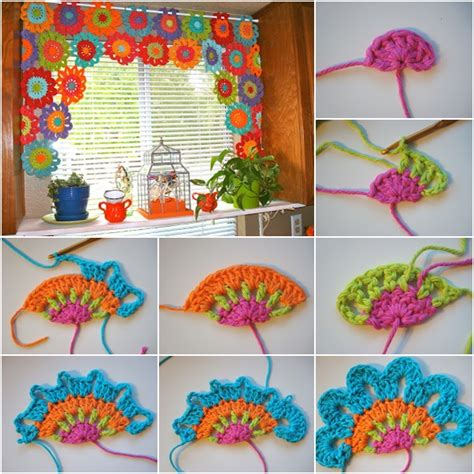 homemade curtain patterns bright and beautiful homemade crochet flower curtain