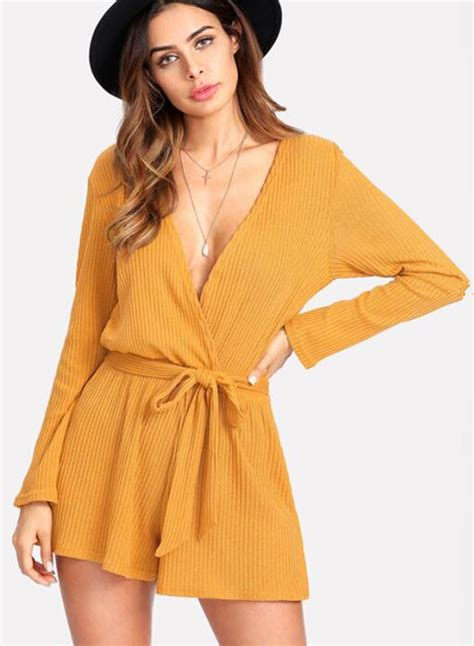 18 02 Romper Snow White Yellow v neck sleeve solid romper with belt novashe