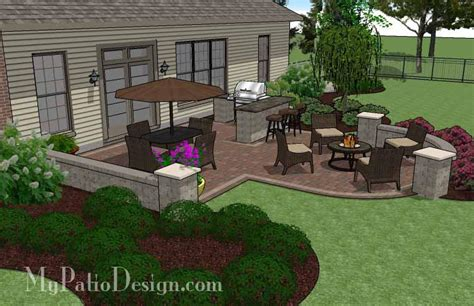 Creative Backyard Patio Design with Seating Wall 525 sq