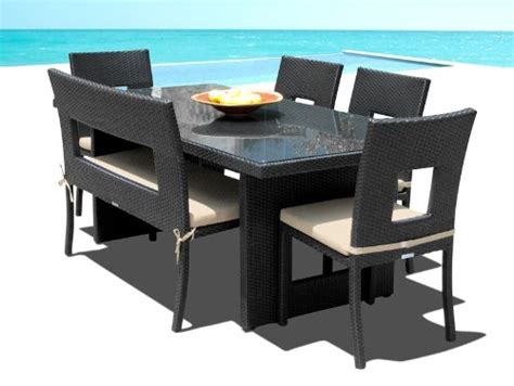 patio dining set with bench patio sets outdoor patio wicker furniture new resin 6 pc