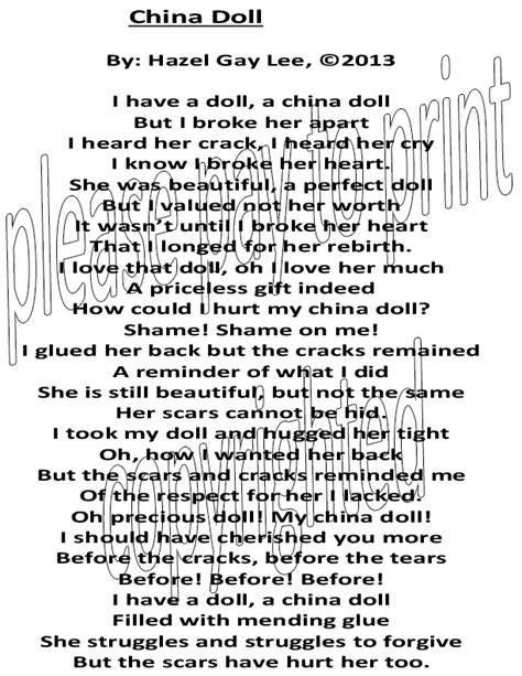 china doll quotes hazelgaylee china doll poem about hurting ourselves or