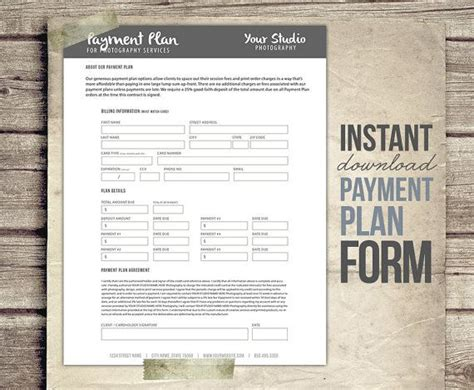Payment Plan Receipt Template by Photography Payment Plan Form Template Financial