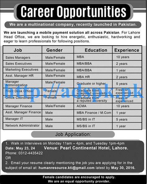 Career For Mba Students by Career Pakistan Multinational Company Lahore For