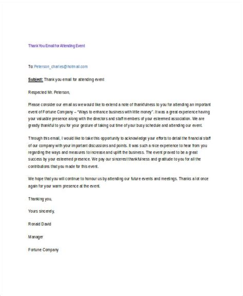 appreciation letter for attending 18 thank you email exles sles