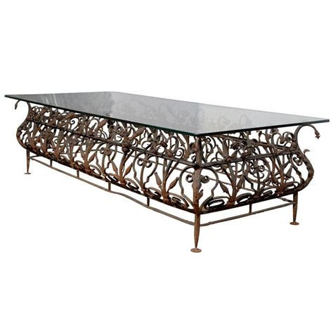 Austrian Mid 19th Century Large Size Wrought Iron And Glass Wrought Iron Coffee Table