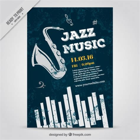 printable music poster jazz music poster vector free download