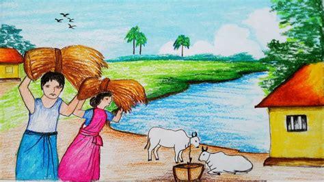 draw  village landscape  farmers harvesting