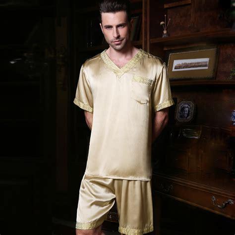 Sanbonnet Shortpants Pajamas 2017 summer mens pajamas silk sleepwear sleeve shorts 100 silk pajamas