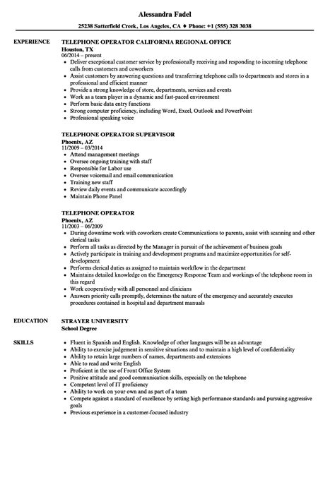 telephone operator resume