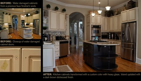 water damaged kitchen cabinets from water damaged kitchen cabinets to a custom finish with heavy glaze ccff kitchen before