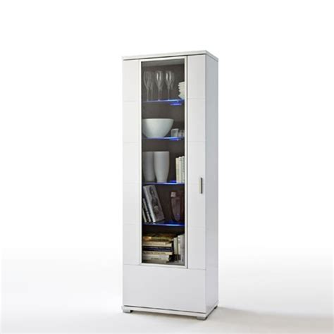 Display Cabinets With Glass Door Lorano Display Cabinet In And White Gloss With Glass Door