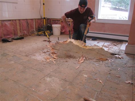 how to remove a tile floor and underlayment a concord carpenter