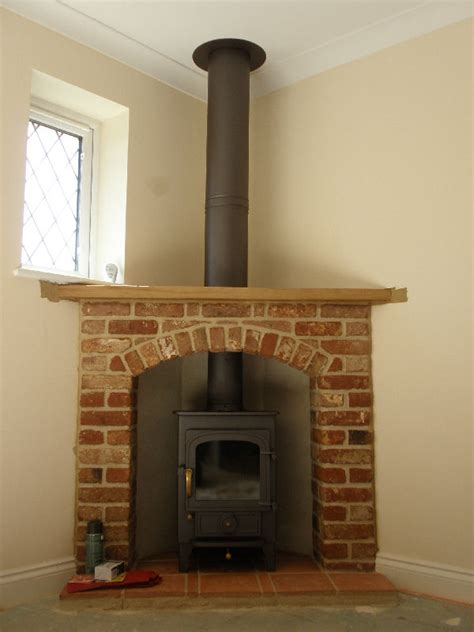 Corner Brick Fireplace by Clearview Pioneer 400 Wood Burning Stove With Brick And Beam Corner Fireplace And Twinwall