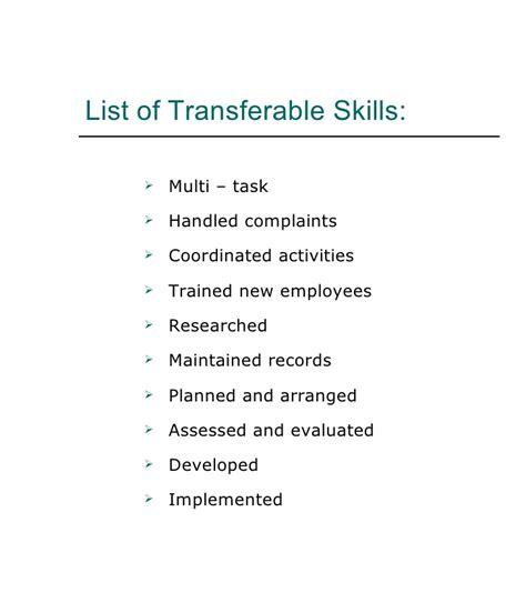 Resume sample transferable skills