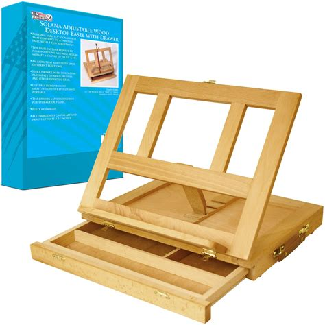 Paint Wood Desk Easel Drawer Painting Storage Stand Table Desk Easel
