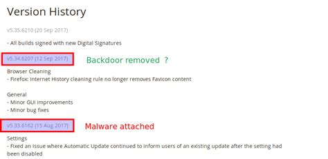 ccleaner version history ccleaner malware puts over 2 billion machines at risk