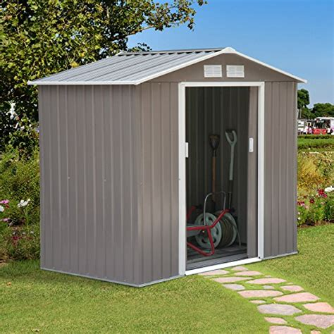 outsunny    outdoor metal garden storage shed gray