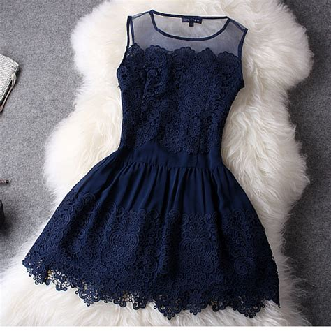 Lace Hook Flower Dress fashion hollow out hook flower lace dress blue on luulla