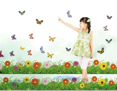 Wallpaper Flowerbutterfly Code No001 Sweet Grass Wall Border Stickers Decals Flower Plants