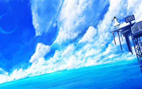 wallpaper anime ocean download 2560x1600 anime landscape anime girl clouds