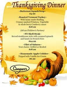 thanksgiving 2014 menu coogan s restaurant in washington heightscoogans