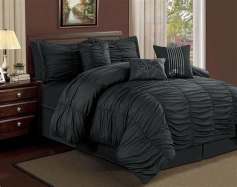 black bedroom comforter sets 7 piece full hermosa ruffled comforter set black