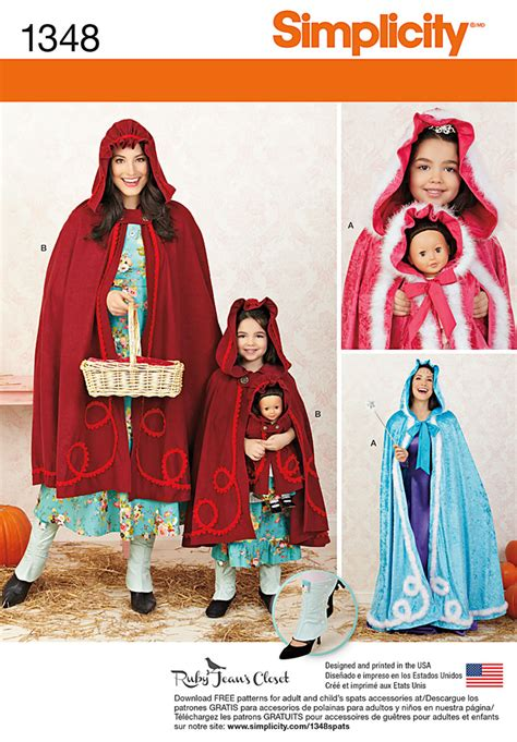 pattern review simplicity 1280 simplicity 1348 misses child s and 18 quot doll capes