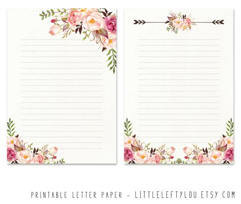 free printable clock stationary printable letter paper floral 2 stationery writing letter