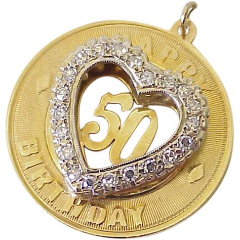 BIG Vintage 50th Birthday Charm 14k Gold Faux Diamond