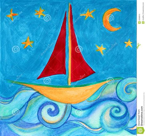 boat drawing for children s boat for children room original drawing stock