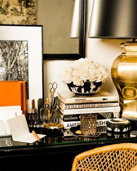 black and gold desk accessories orange accents traditional den library office eddie ross