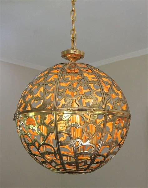 Large Pierced Filigree Brass Japanese Asian Ceiling Asian Pendant Light