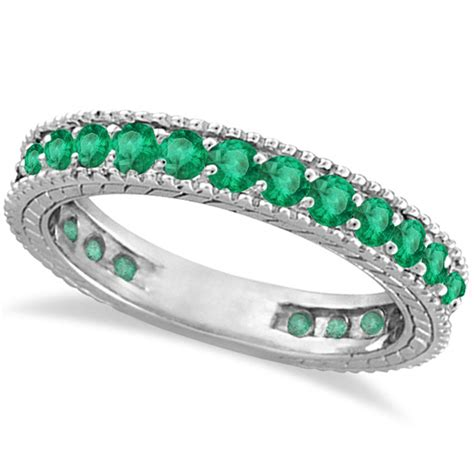 emerald eternity ring anniversary ring band 14k white gold