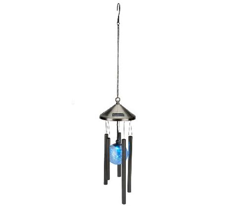 Crackle Glass Solar Lighted Wind Chime Qvc Com Solar Lighted Wind Chimes