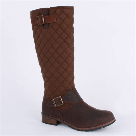 barbour hoxton womens biker boots in brown