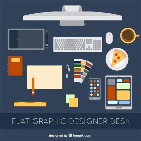 graphic design desk flat graphic designer desk elements set vector free