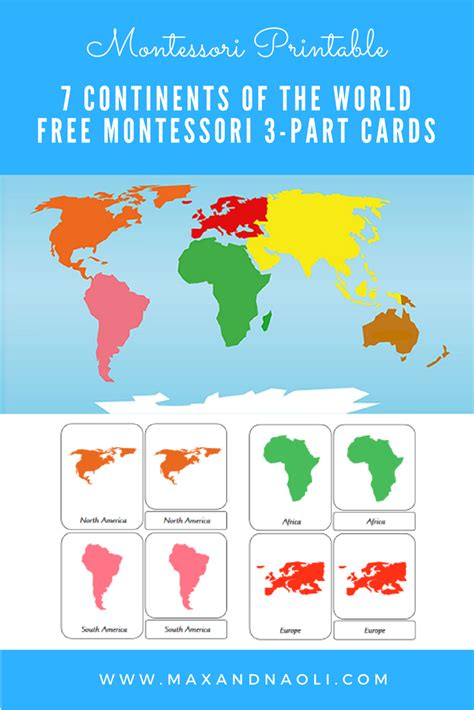 printable montessori cards montessori printables 7 continents of the world max