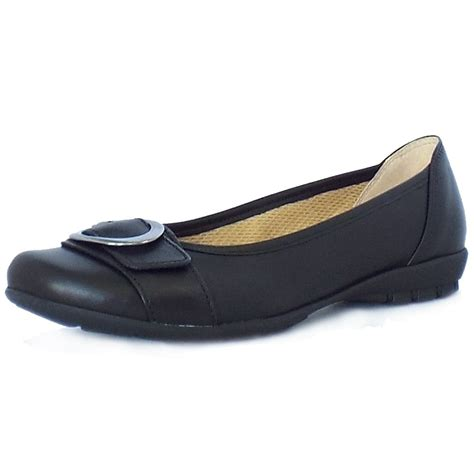 Gabor Garda Sale Comfortable Flat Shoes In Black Leather