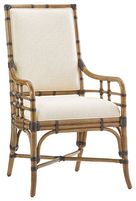 Tropical Dining Chairs Bahama Palms Summer Isle Upholstered Arm Chair Tropical Dining Chairs By