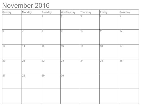 printable monthly calendar november 2016 6 best images of 8 x 11 printable calendar august 2016