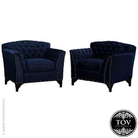 Velvet Club Chair by Waterford Navy Velvet Club Chair Tov Furniture