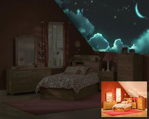 glow in the dark ceiling murals before after modern
