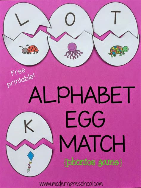 printable kindergarten alphabet games alphabet egg matching game