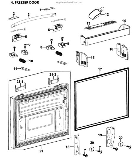 samsung refrigerator parts diagram parts for samsung rf268abrs xaa 0000 freezer door parts