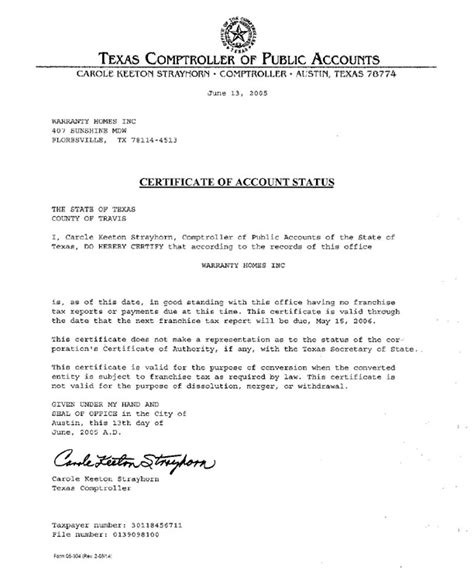 Request Letter For Standing Certificate Certificate Of Account Status Letter Of Standing