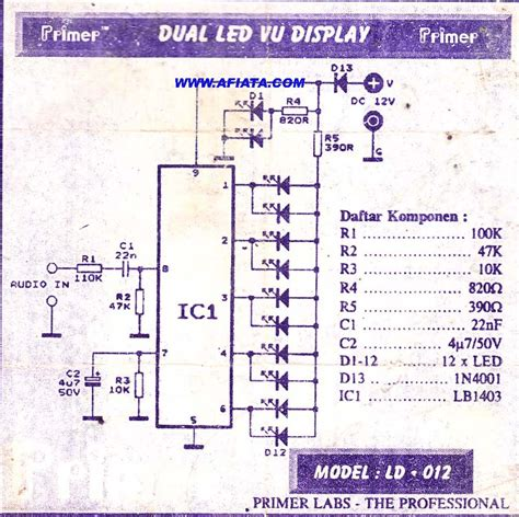 Ic Lb1403 led vu display circuit electronic circuit diagram and layout