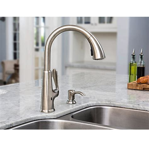 touch free faucets kitchen stainless steel pasadena touch free pull kitchen faucet with react f 529 epds pfister