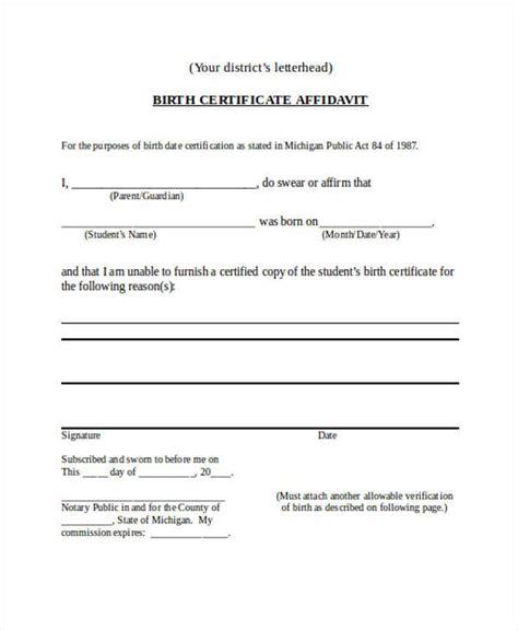 birth certificate affidavit format cic oopnp com affidavit forms in word
